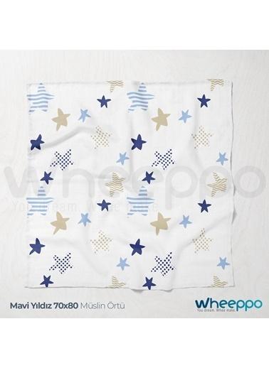 Wheeppo Mavi Yıldız Müslin Örtü  70*80 Cm Renkli